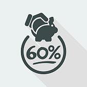 60% Discount label icon