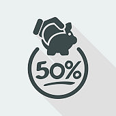 50% Discount label icon