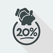 20% Discount label icon