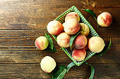 ripe peaches in a decorative basket on the table