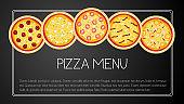 Pizza card menu. Vector illustration.