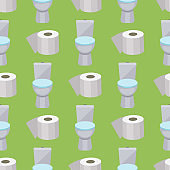 Bath equipment toilet bowl clean bathroom flat style illustration hygiene design seamless pattern background