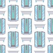 Bath equipment shower cabin bowl clean bathroom flat style illustration hygiene design seamless pattern background