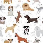 Dog vector cute cartoon puppy illustration home pets doggy different breed and poses bulldog, hand small doggie terrier, maltese-dog seamless pattern background