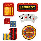 Casino icons set with roulette gambler joker slot machine poker game vector illustration