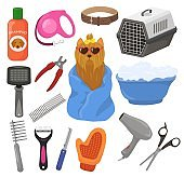 Grooming vector pet dog accessory or animals tools brush hair dr