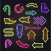 Neon arrow vector glowing arrows and illuminated arrowheads directions illustration set of cursed pointer design of different colors up down isolated on background
