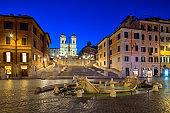 Spanish Steps and  Fontana della Barcaccia in Rome, Italy.