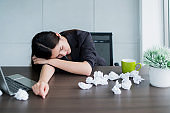 office syndrome asian woman feel bad with flu and sneeze tired and allergy of air condition office background