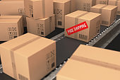 Cardboard box free shipping concept - Stock image