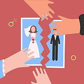 Divorcement. Man and womantear apart wedding photo