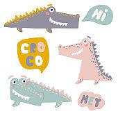 Set with happy fun crocodiles. Cartoon alligators