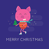 Merry Christmas greeting card with cute animals: pig. Piggy, in a coat  with scarf and tree