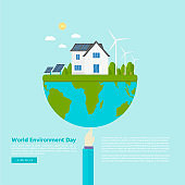 Happy World Environment Day postcard with green city background,