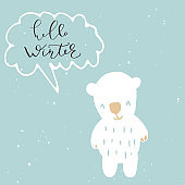 Hello Winter lettering banner. Hand drawn decoration for Happy New Year and Christmas greeting card design