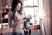 Inspired blogger fixing her modern cam