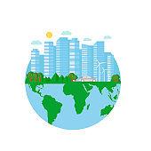 Happy Earth Day postcard with green city, car, wind turbine.