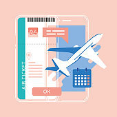 Online booking ticket. Buy Ticket Online. Traveling on airplane, mobile app, online service