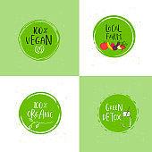 Vector round eco, bio green logo or sign