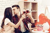 Beautiful Couple Wine Drinking On Valentine's Day.