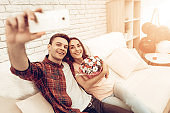 A Couple Are Making A Selfie On Valentine's Day.