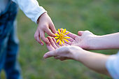 Parent and child handing yellow flower