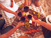 People drinking red wine outdoor. Summer picnic
