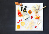 Cheese, honey and fruits. Plate antipasti snack