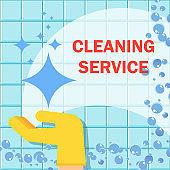 Cleaning service flat vector concept.