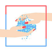 Washing hands. Female hands with manicured nails are washed with soap and water.