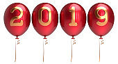 New Years Eve balloons 2019 row arranged red golden glossy