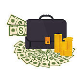 Black briefcase. Money bag icon with pile of money