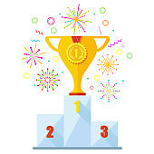 Winner podium and fireworks, champion place.