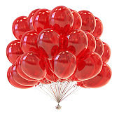 red helium balloons bunch glossy