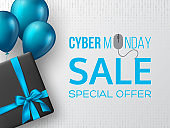 Cyber monday sale horizontal poster or banner.