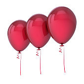 Three red helium balloons blank row arranged