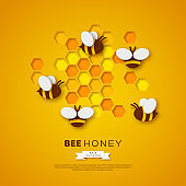 Paper cut style bee with honeycombs. Template design for beekiping and honey product. Yellow background, vector illustration.