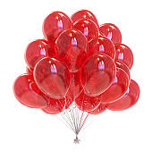 Balloons bunch red festive party decoration glossy