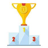 Winner podium, champion place
