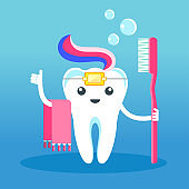 Funny cute characters tooth in braces with toothpaste and toothbrush