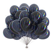 Black balloons bunch party decoration glossy