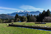 Picturesque landscape of snow covered Ziria mountain in Peloponnese Greece