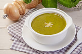 Spinach cream soup in bowl