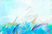Abstract contemporary art for background. Colorful oil painting on canvas texture.
