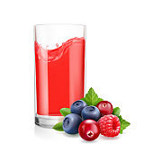 Berries mix juice and drinking glass realistic illustration