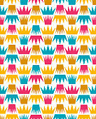 Baby and kids royal pattern with crowns, cute princess background, vector  beautiful geometric seamless fabric, luxury wrapping paper, fashion trendy fabric, ornament template, layout for boys and girls