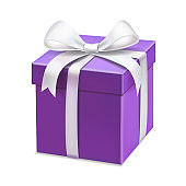 Realistic purple gift box with white ribbon