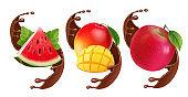 Fruits in chocolate splash. Realistic set with mango, apple. watermelon illustration