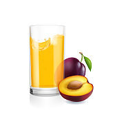 Glass of juice and plums realistic isolated vector