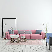 Modern Nordic interior with sofa and lots of details
